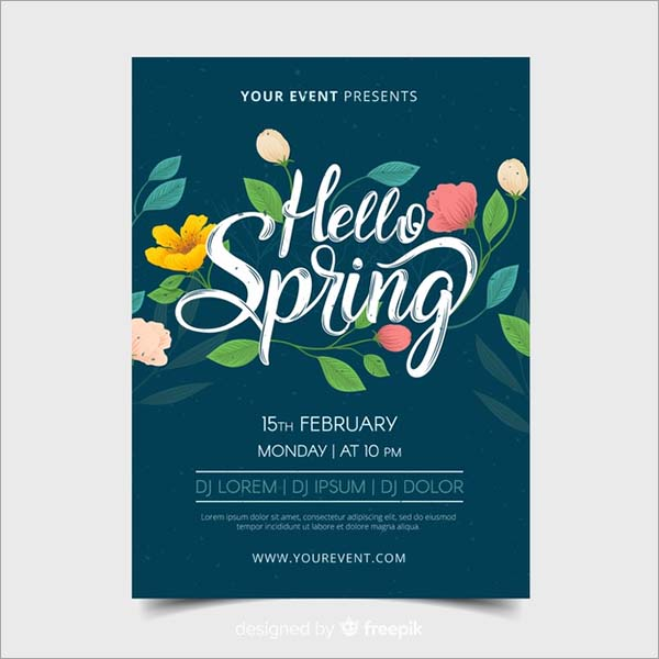 Hand Drawn Spring Free PSD Template