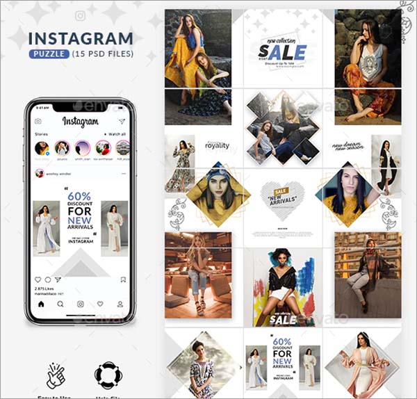 Instagram PSD Puzzle Template