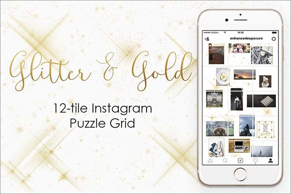 Instagram Puzzle Grid Gold Template