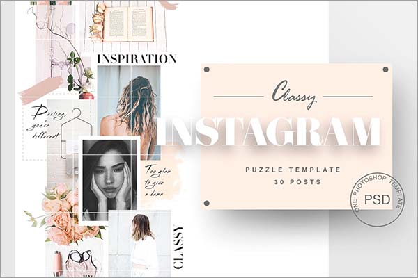 Instagram Puzzle OTF, PSD, JPG Template