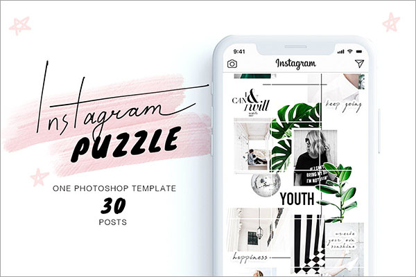 Instagram Puzzle PSD, JPG, PDF Template