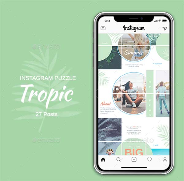 Instagram Puzzle Tropic Template