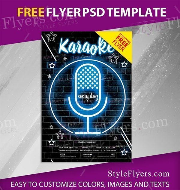 Karaoke Free Flyer PSD Template