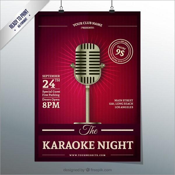 Karaoke Night Flyer Free Vector