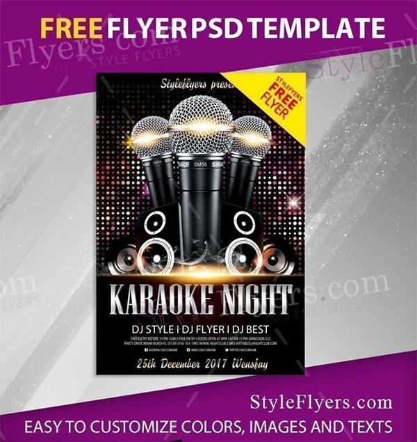 Karaoke Night Free Flyer PSD Template