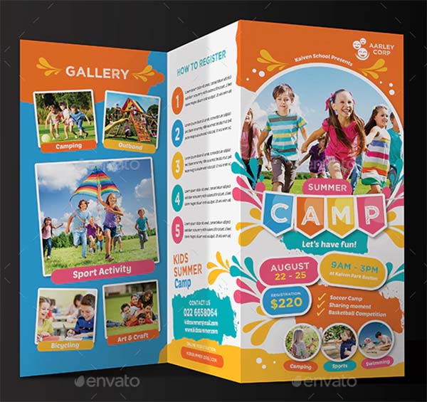 Kids PSD Summer Camp Trifold Brochure