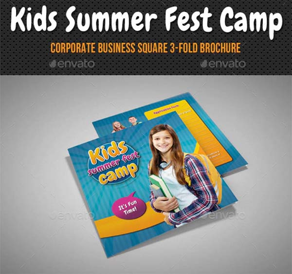 Kids Summer Camp Square 3-Fold Brochure