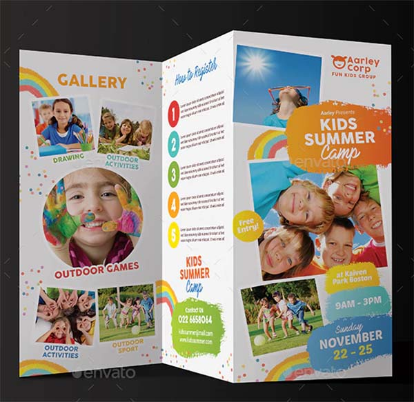 Kids Summer Camp Trifold PSD Template
