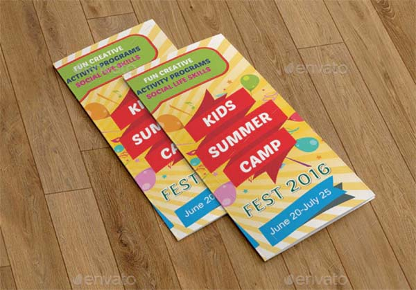 Kids Summer Camp Trifold Print Brochure