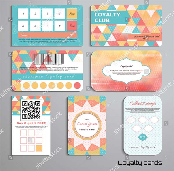 Multicolored Triangles Loyalty Cards Template
