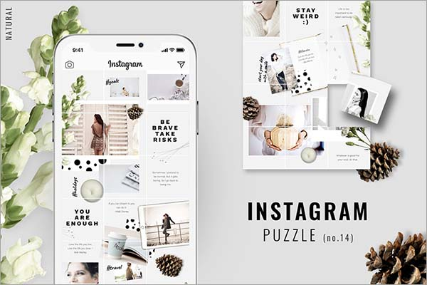Natural Instagram Puzzle Template