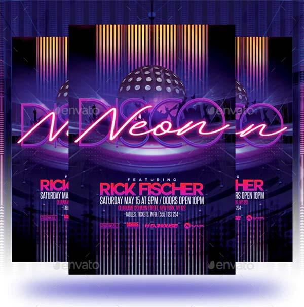 Neon Disco Party Flyer