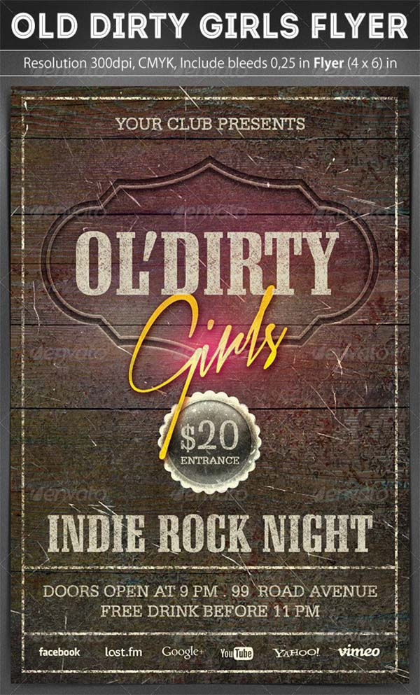 Old Dirty Girls Flyer Template