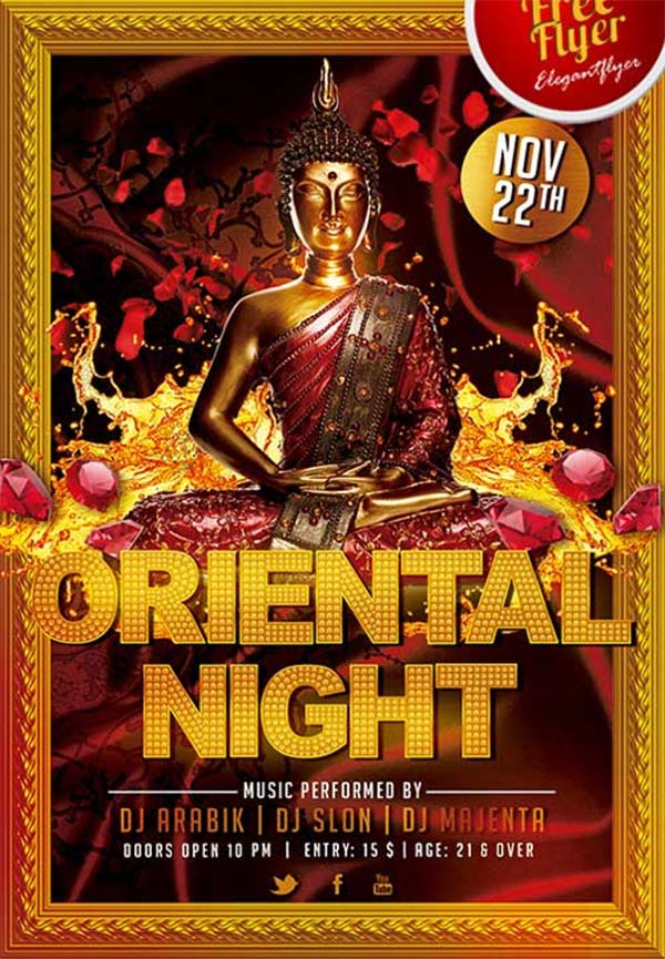 Oriental Night Party Free PSD Flyer Template