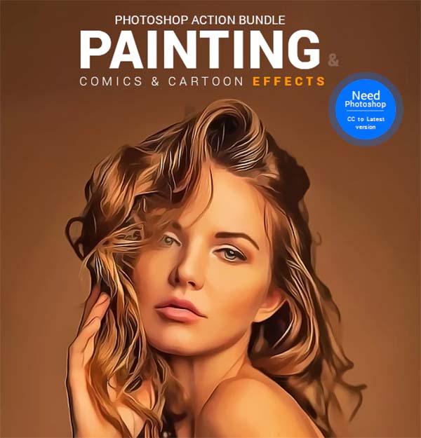 Painting, Comics & Cartoon Actions PSD Bundle