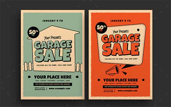 Retro Garage Sale Flyer Design