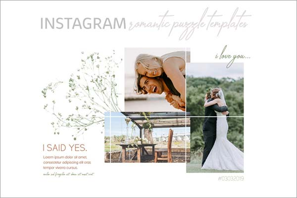 Romantic Instagram Puzzle Templates