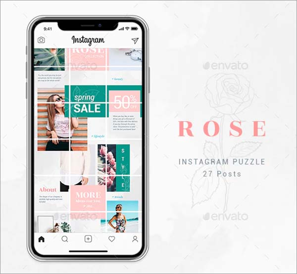 Rose Instagram Puzzle Template