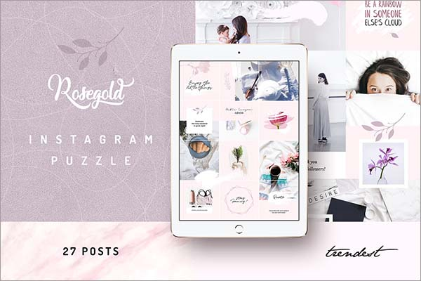 Rosegold Instagram Puzzle Template
