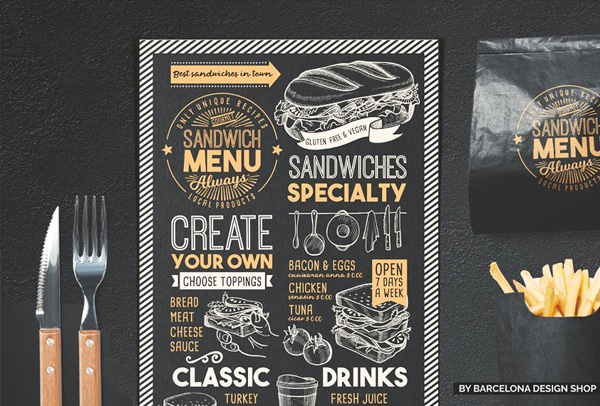 Sandwich Menu Brochure Template