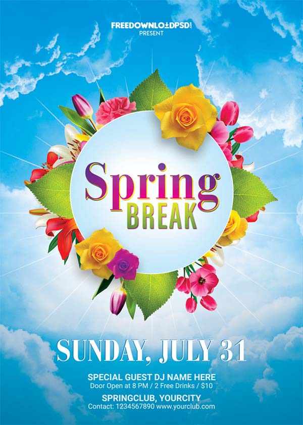 Spring Break Flyer Free Template