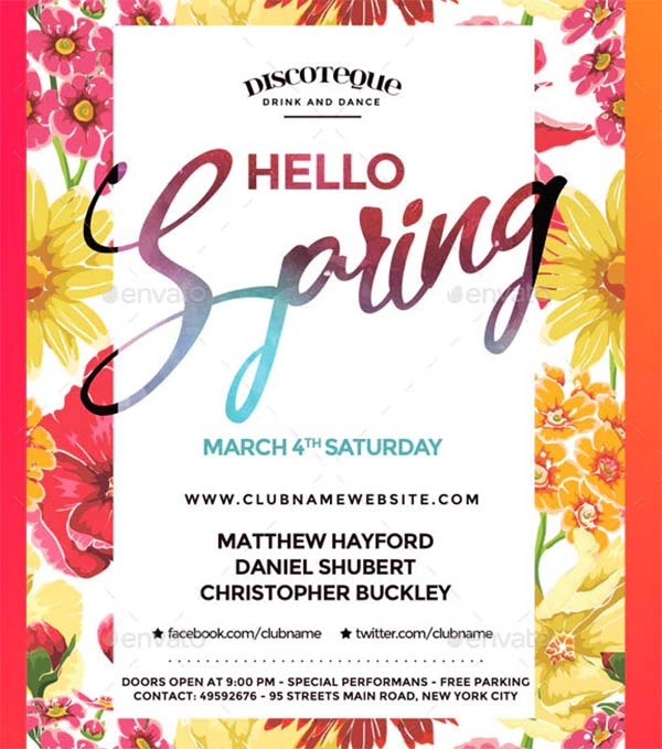 Spring Break Flyer PSD Template