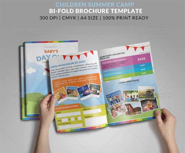 Summer Camp Kids Bi-Fold Brochure