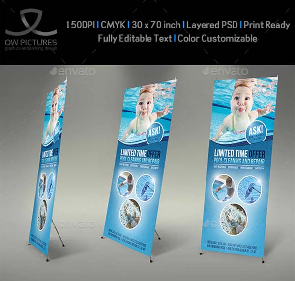 Swimming Pool Cleaning Service Signage Banner