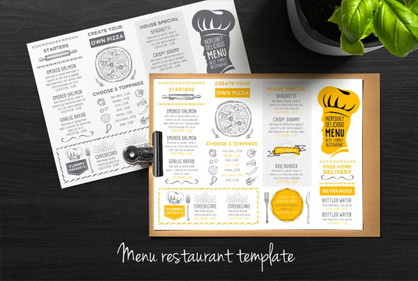 Trifold Food Menu Cafe Template