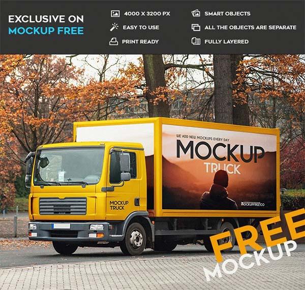Truck Free PSD Mockup