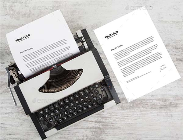 Typewriter A4 Paper Mockup