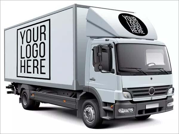 White Box Truck Free Mockup