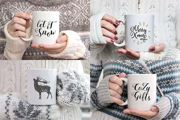 Winter Coffee Mug Mockups Bundle
