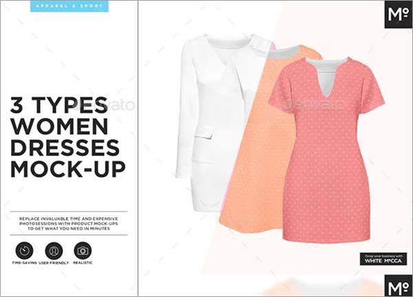 3 Types Women Dresses PSD Mockup