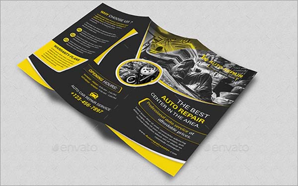 Auto Repair Trifold PSD Brochure Design