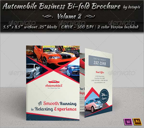 Automobile Bi-Fold Brochure PSD