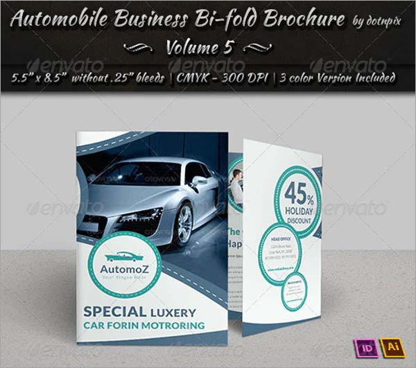 Automobile Bi-Fold PSD Brochure Template