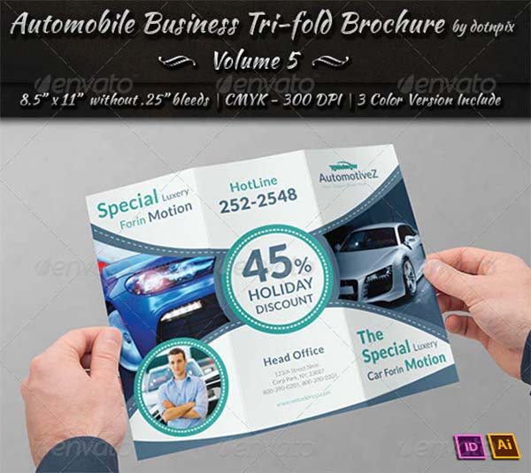 Automobile Business PSD Tri-Fold Brochure