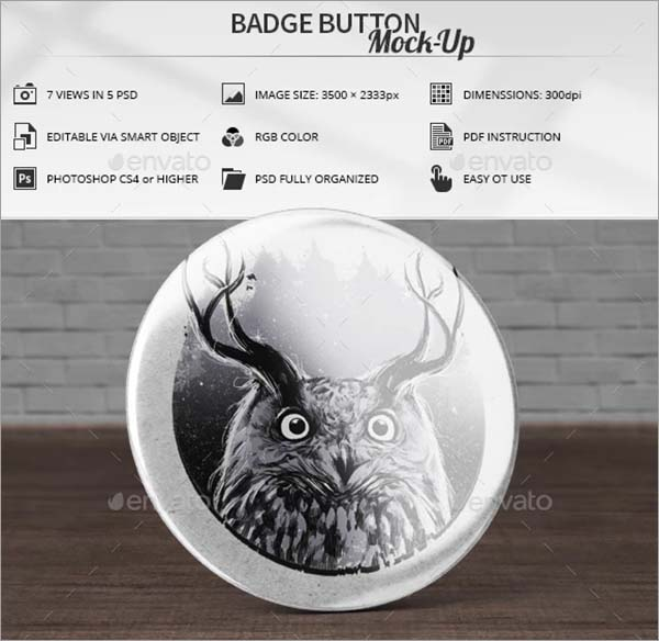 Badge Button PSD Mock-Up Template