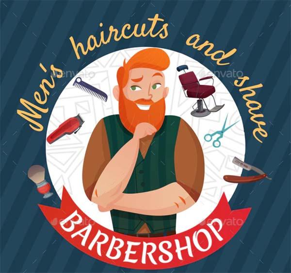 Barber Shop Cartoon Poster Template