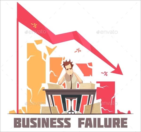 Business Failure Retro Cartoon Poster Template