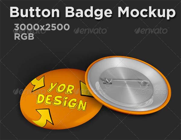Button Badge PSD Mockup