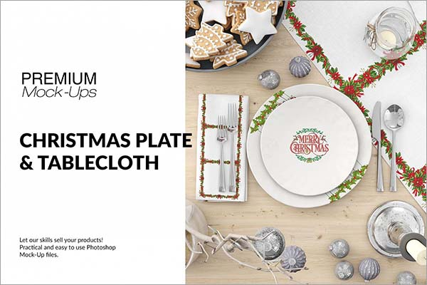 Christmas Plates, Tablecloth & Napkin Mockup