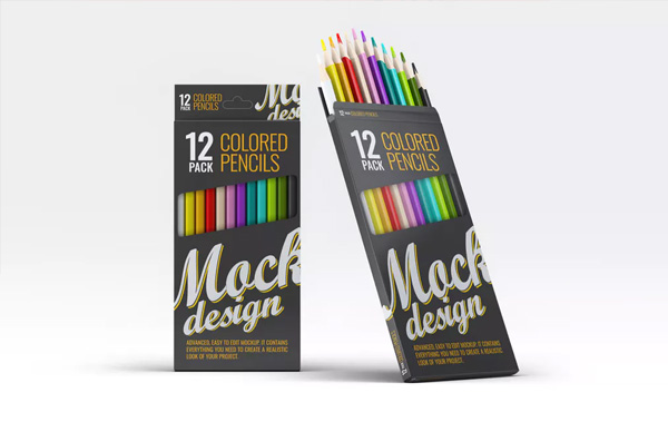 Colored Pencils Pack Mockup