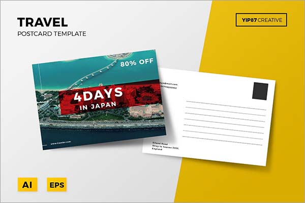 Creative Travel Postcard PSD Template