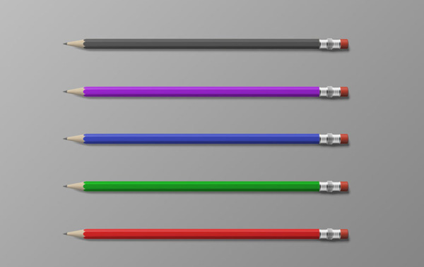 Editable Pencils Free PSD Mockup