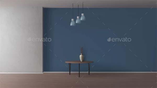 Empty Room Elegant Interior Realistic Mockup