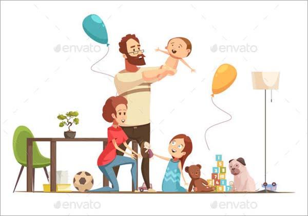 Family Home Retro Cartoon Poster Template
