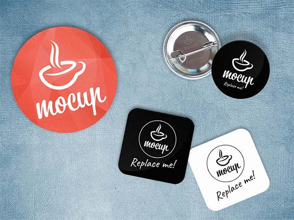 Free PSD Button Badge Mockup