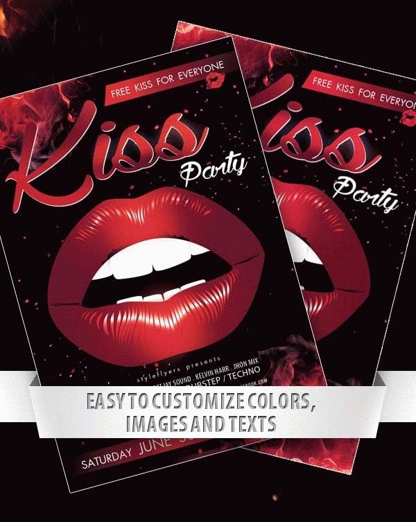 Free PSD Kiss Party Flyer Template